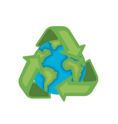 earth planet with recycle symbol design vector image vector image