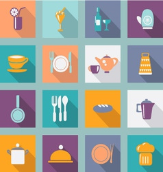 kitchen ware Flat icons Food icons vector image vector image