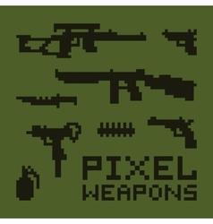 Pixel art weapons set vector image