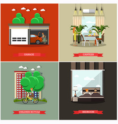 set of house square posters in flat style vector image vector image