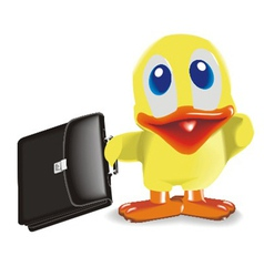 Duck with bag vector