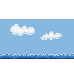 Pixel art style sea water and clouds vector image vector image