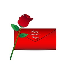 Red rose and red envelope on white background vector image vector image