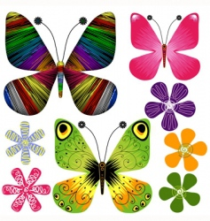 set abstract butterflies and flowers vector image