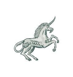 Unicorn Horse Prancing Side Etching vector image