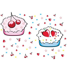 cupcakes pattern vector image