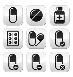 pill medicine buttons set vector image