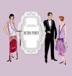 retro fashion party card background man woman vector image