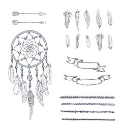 set of hand drawn ornate dreamcatcher vector image