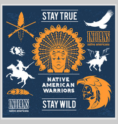set of wild west american indian designed elements vector image vector image