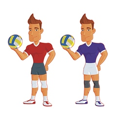 young cartoon volleyball players isolated vector image vector image
