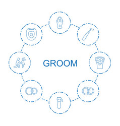 8 groom icons vector