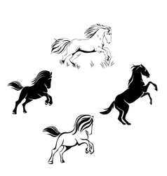 a set of horses vector image