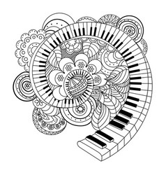 Abstract musical instrument coloring book vector