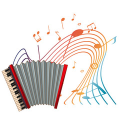accordion musical instrument with melody symbols vector image