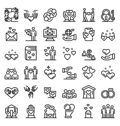 Affection icons set outline style vector