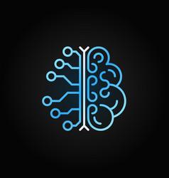 Ai brain simple blue outline icon on dark vector