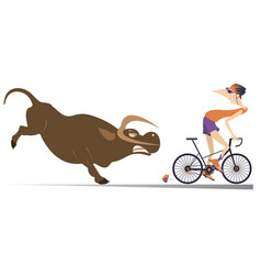 Angry bull and cyclist cartoon vector