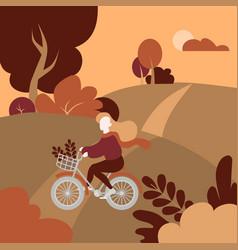 Autumn public park landscape girl with bicycle vector