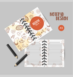Bakery organizer design notes with sweet pastry vector