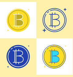 bitcoin symbol icon set in flat and line style vector image