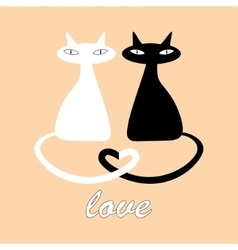 Black and white cats in love vector
