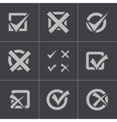 black check marks icons set vector image