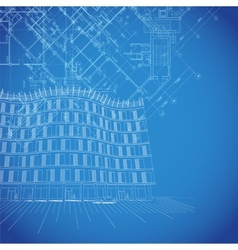 blueprint background with building plans vector image vector image