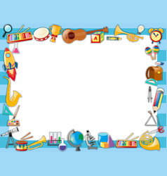 Border template with many school objects vector