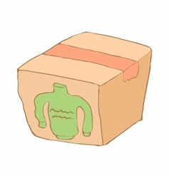 Box with donation clothes icon cartoon style vector