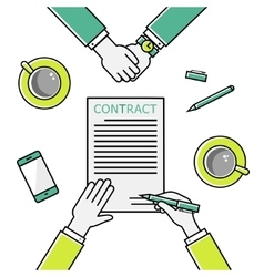 Business man hands holding contract signing of a vector image
