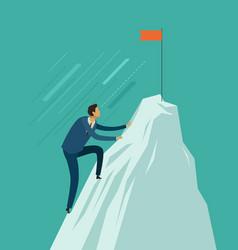 Businessman climb to top mountain vector