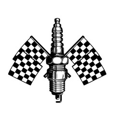 car spark plug with racing flags design element vector image