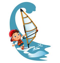 cartoon little girl sailing in ocean wearing vector image