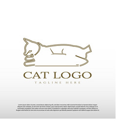 Cat logo with line art design animal and wildlife vector