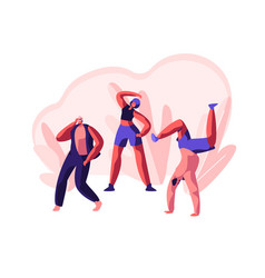 Character dancing extreme breakdance on street vector