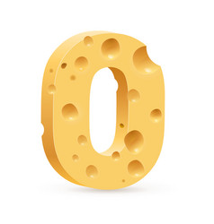 cheese font o letter on white vector image