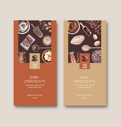 Chocolate packing design with ingredients cocoa vector