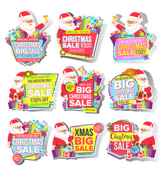 christmas big sale sticker set santa claus vector image