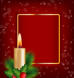Christmas Candle holly pine and frame on red vector image