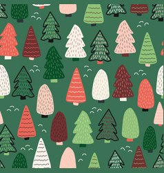 christmas trees background seamless vector image