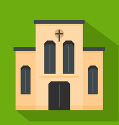 church with cross icon flat style vector image