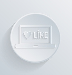 Circle flat icon laptop with symbol thumb up vector