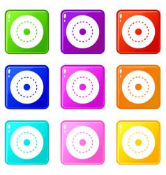 Circle road icons 9 set vector