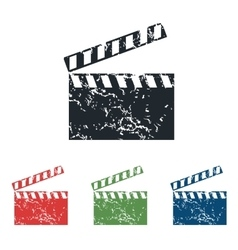 Clapperboard grunge icon set vector