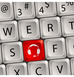 computer keyboard headphone key vector image