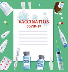 covid19-19 coronavirus vaccination poster template vector image