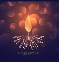 Creative diwali diya with bokeh effect vector