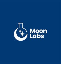 Crescent moon laboratory logo icon vector