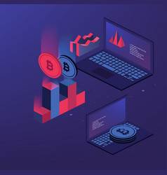 cryptocurrency and blockchain bitcoin mining farm vector image